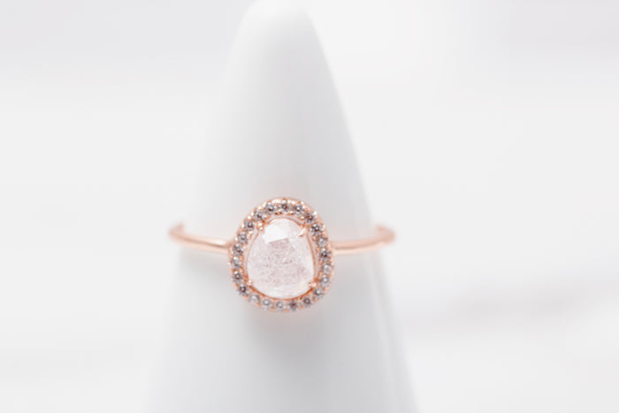 Rose Gold Halo Quartz Ring
