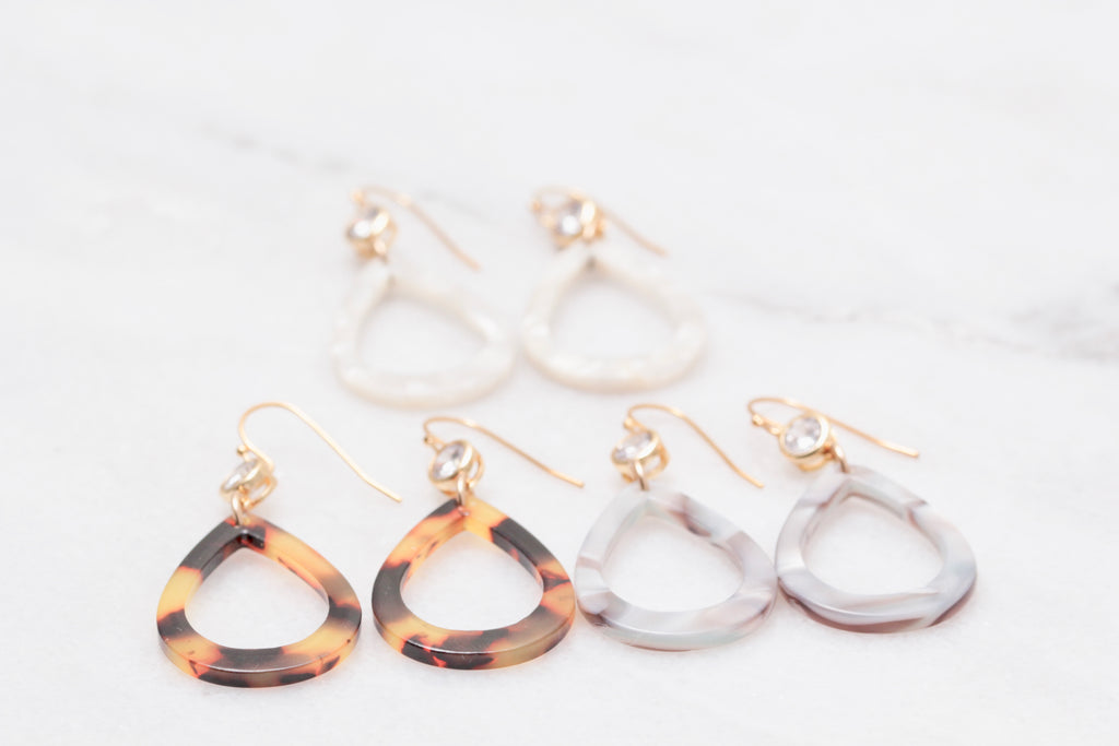 Tortoise Shell Teardrop Earrings