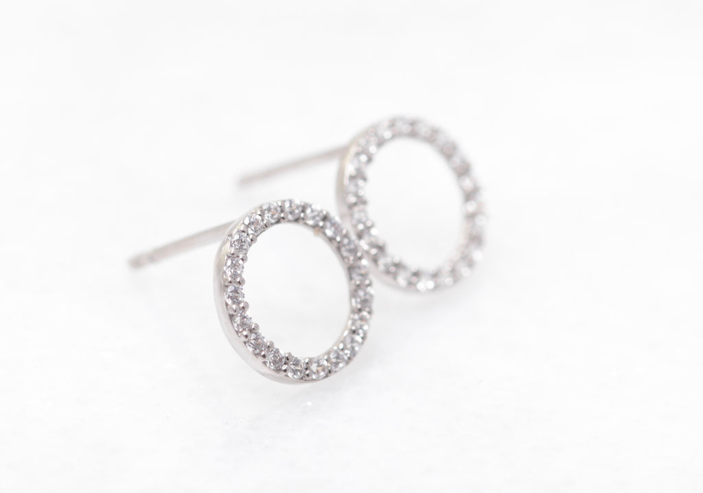 14k Gold Open Pave Circles