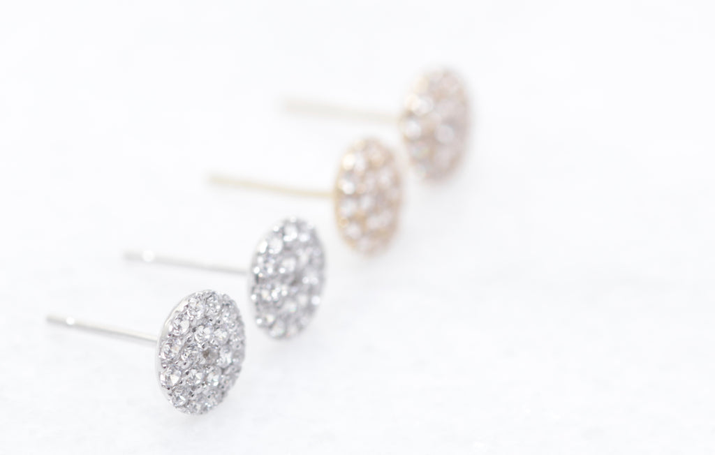 14K Gold Pave Disc Studs