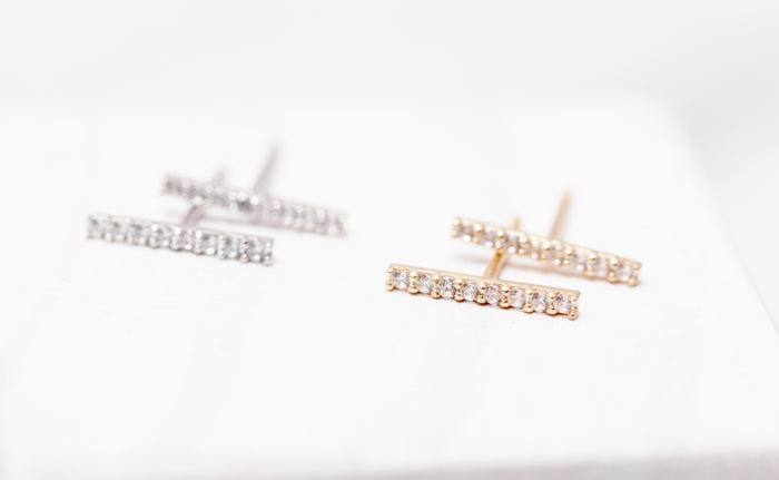 14K Gold Pave Bar Stud