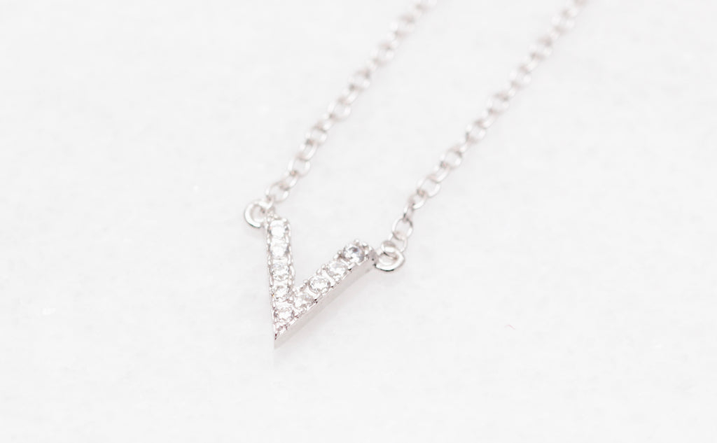 Petite Crystal Chevron Necklace