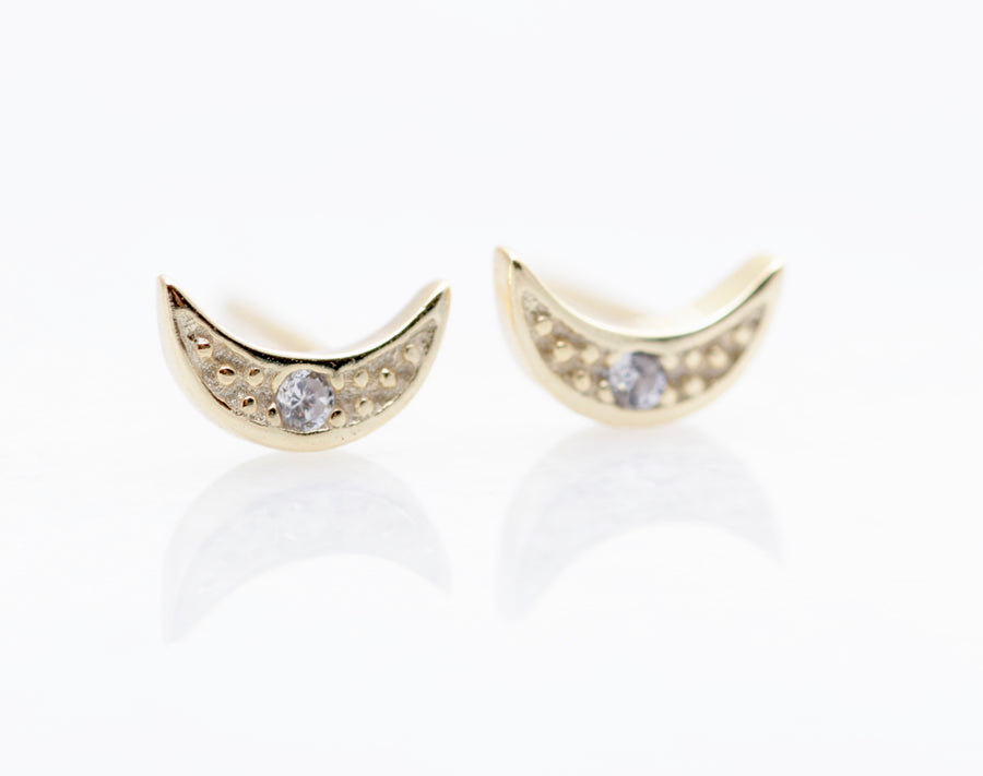 Mini Crystal Moon Studs