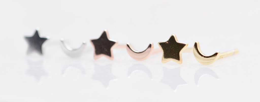 Teenie Moon and Star Studs