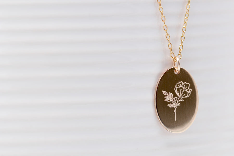 Hand Drawn Oval Flower Necklace
