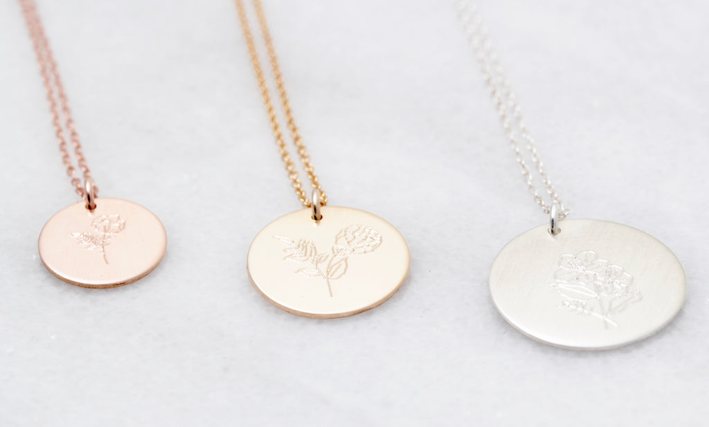 Hand Drawn Circle Flower Necklace