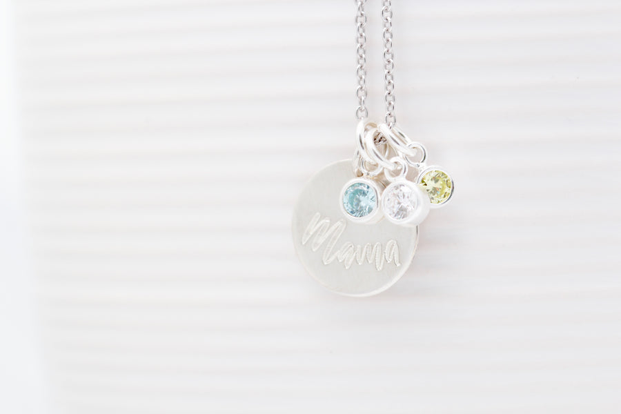 """Mama"" Birthstone Necklace"