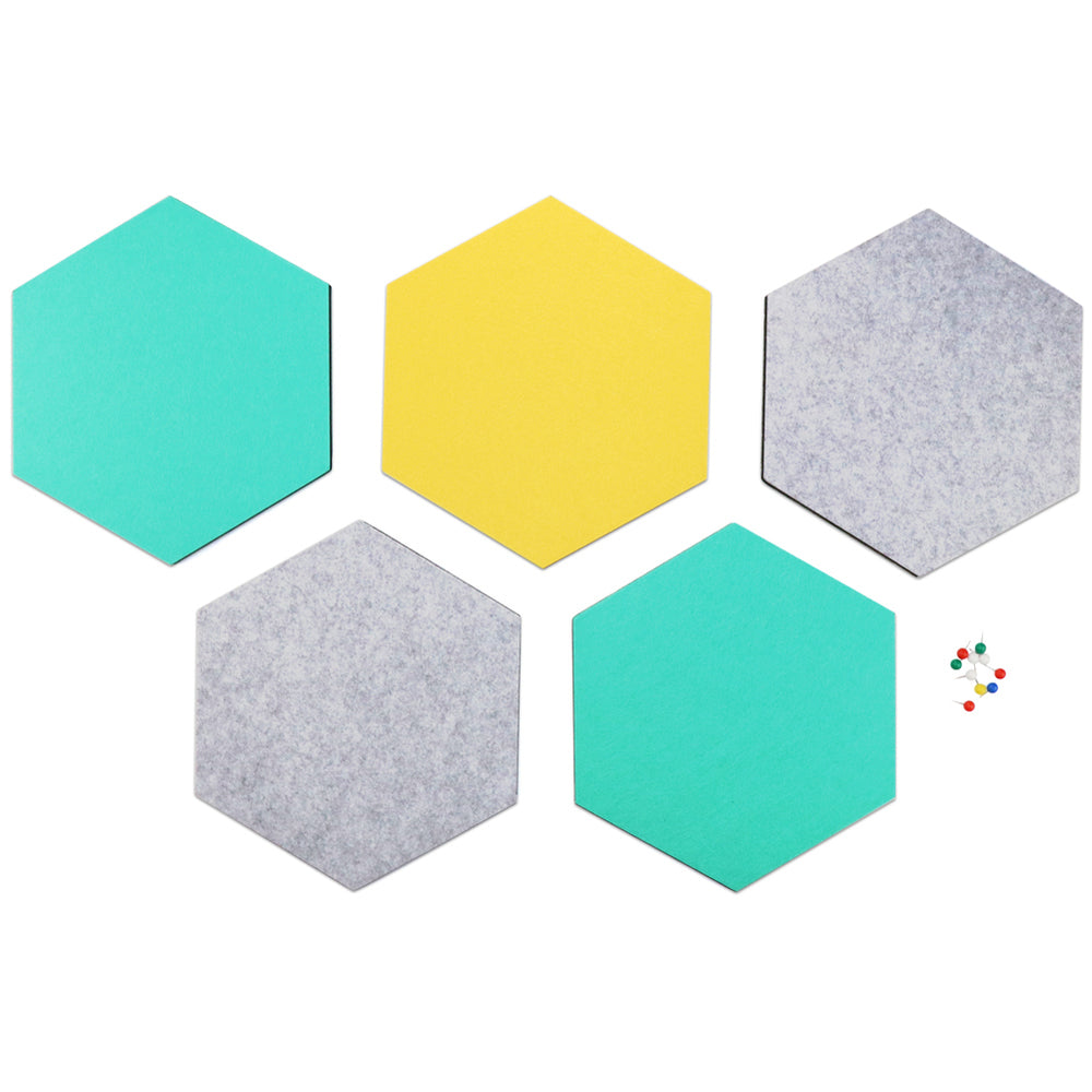 SEG Direct Hexagon Felt Board Gray/Teal/Yellow 5 PCS Set with Push Pins 10.2 x 11.8 x 0.5 inches