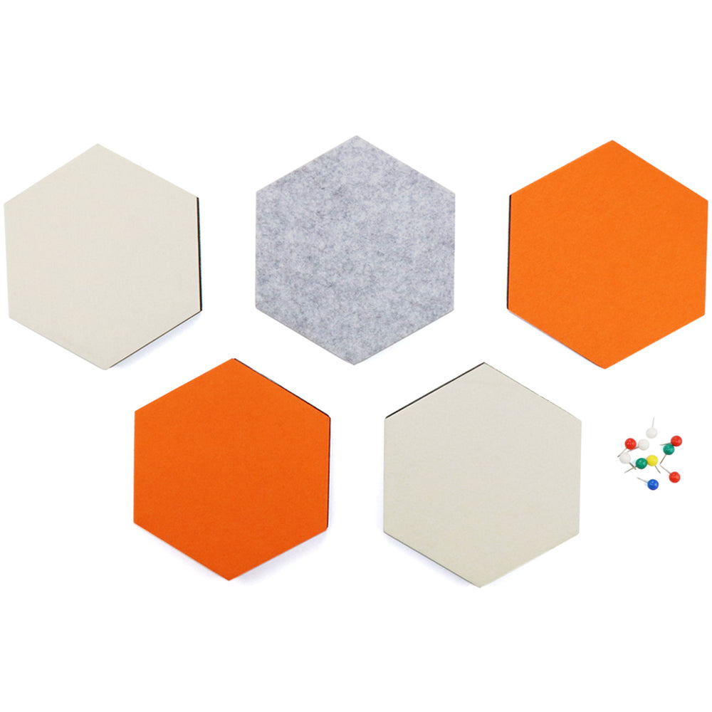 SEG Direct Hexagon Felt Board Orange/Ivory/Gray 5 PCS Set with Push Pins 6.1 x 7.1 x 0.5 inches