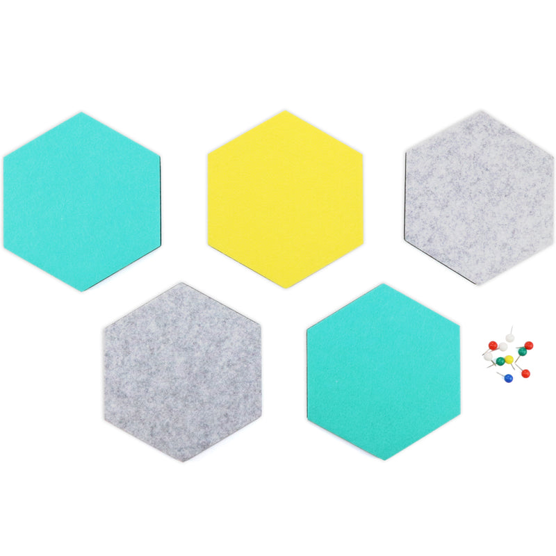 SEG Direct Hexagon Felt Board Gray/Teal/Yellow 5 PCS Set with Push Pins 6.1 x 7.1 x 0.5 inches