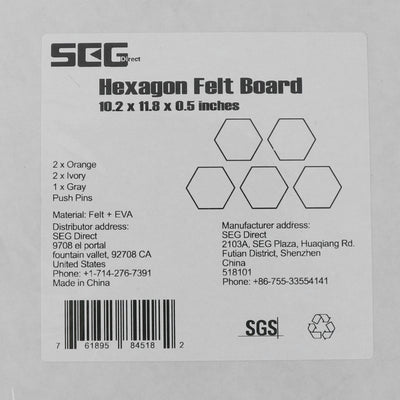 SEG Direct Hexagon Felt Board Orange/Ivory/Gray 5 PCS Set with Push Pins 10.2 x 11.8 x 0.5 inches