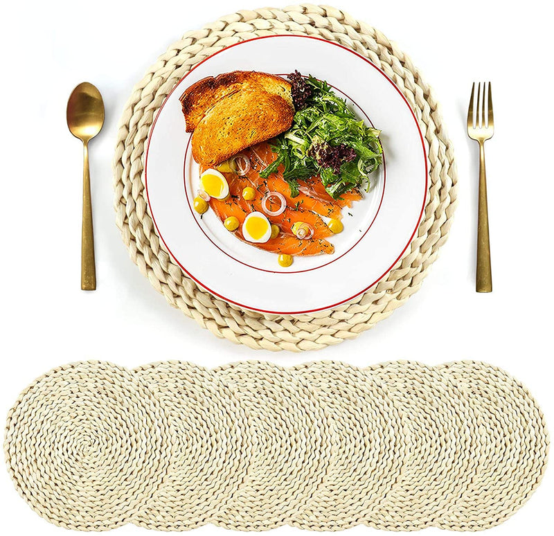 SUEH DESIGN Set of 6 Round Woven Placemat, Corn Husk Weave Placemat, Placemat Braided Rattan Tablemats 11.8