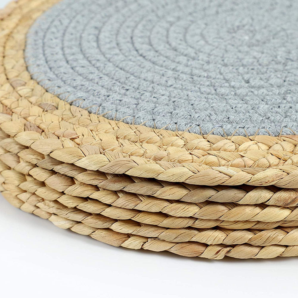 SUEH DESIGN Cotton Pot Mats Handmade Woven of Cotton Coasters Non-Slip Heat Insulation Round Placemats Set of 6, Hot Mats for Cooking and Baking 11.8