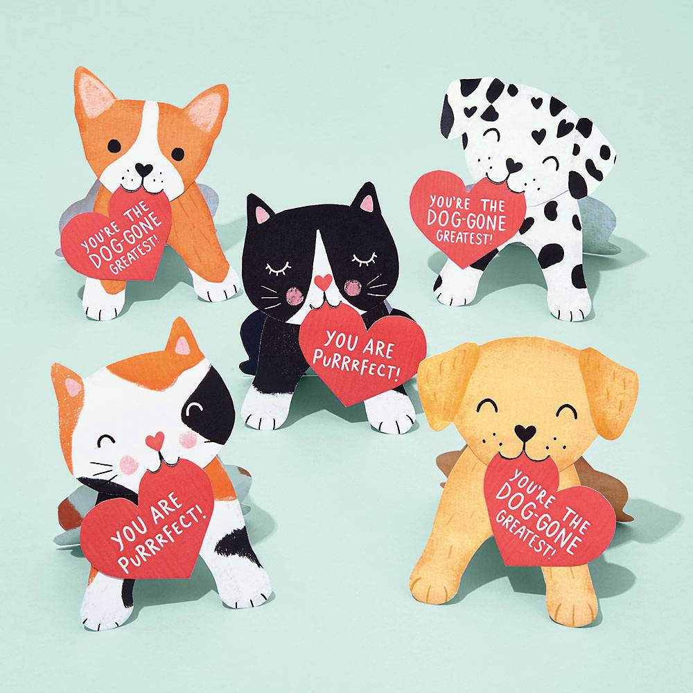 Dogs & Cats Valentine Card Kit
