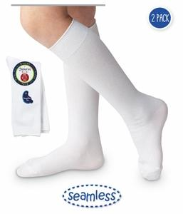 Jefferies Knee High Socks in White with a Seamless Toe