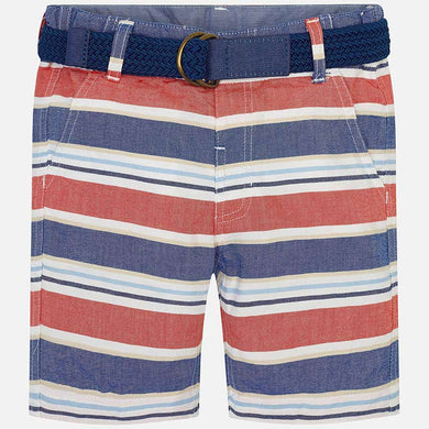 Mayoral Oxford Striped Short in Red, White and Blue