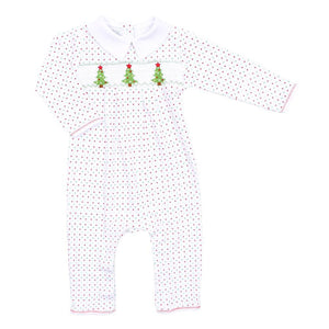 Magnolia Baby O Christmas Tree Smocked Collared Playsuit-Red