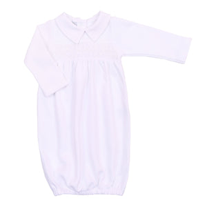 Magnolia Baby Abby & Adam's Classics Smocked Collared Gathered Gown-White