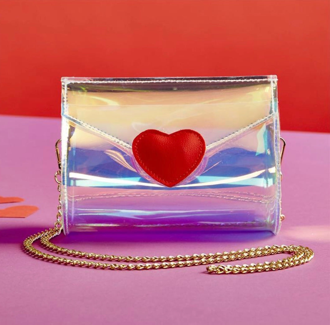 Two's Company Iridescent Heart Purse/ Clutch