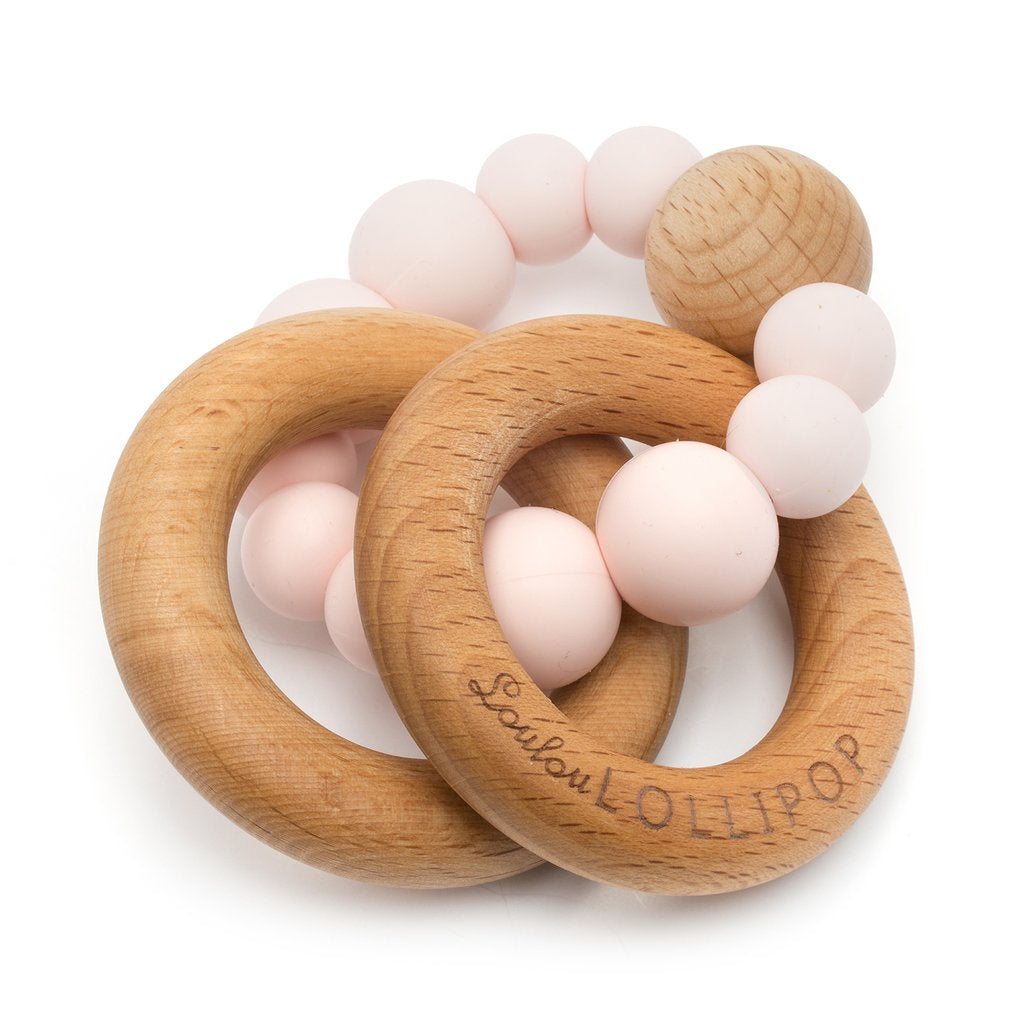 Lou Lou Lollipop Bubble Silicone and Wood Teether -Pink Quartz