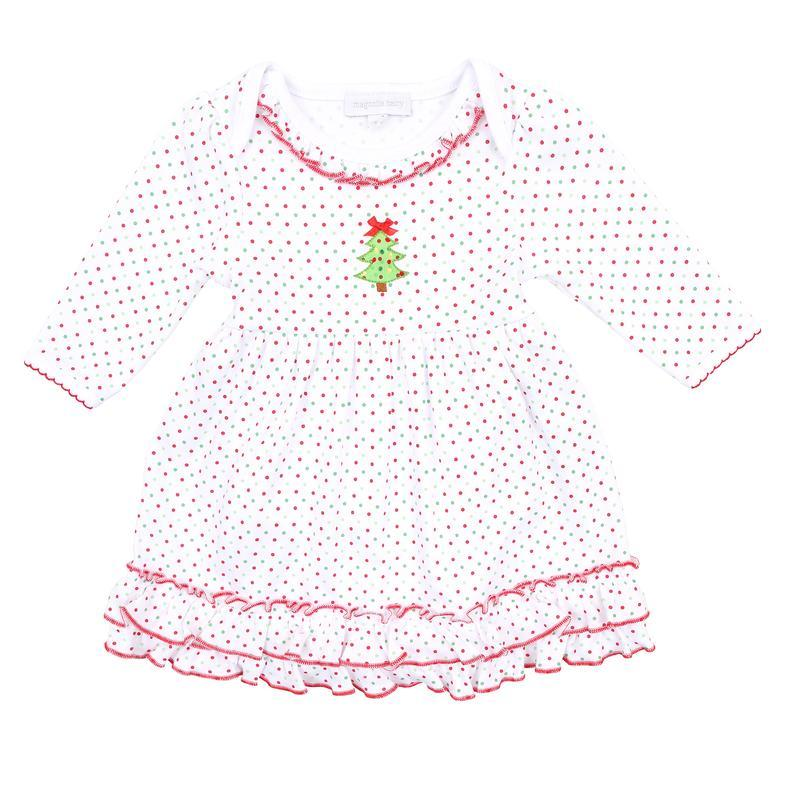 Magnolia Baby O Christmas Tree Dress Set-Red