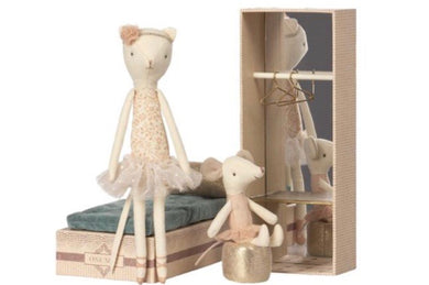 Maileg Dancing Cat & Mouse in Shoebox