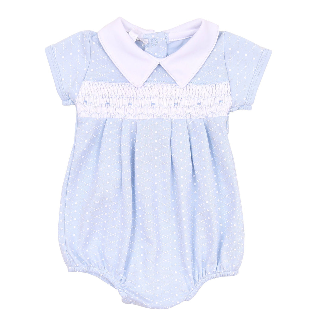 Magnolia Baby Catherine and Caleb's Classics Smocked Bubble-Light Blue