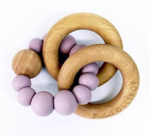 Lou Lou Lollipop Bubble Silicone and Wood Teether -Lilac