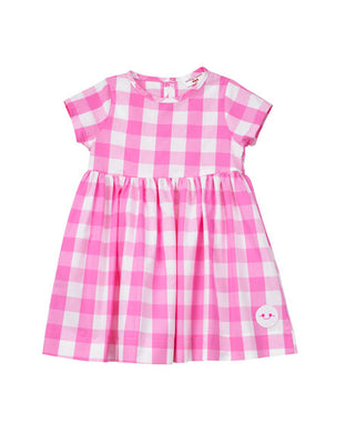Smiling Button Bubblegum Gingham Sunday