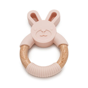 Lou Lou Lollipop Bunny Silicone and Wood Teether -Blush Pink