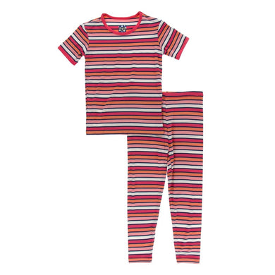 Kickee Pants Print Short Sleeved Pajama Set in Botany Red Ginger Stripe