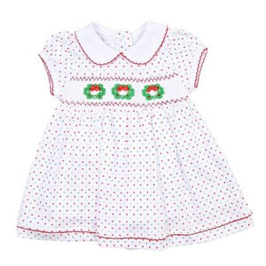 Magnolia Baby Holiday Wreath Smocked Collared  Dress