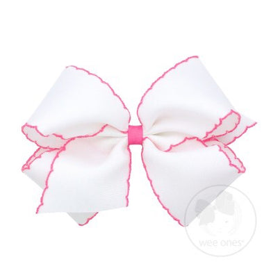 Wee Ones Small Moonstitch Basic Bow- Bright Pink