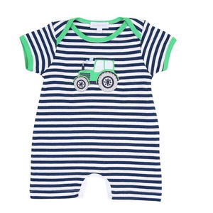 Magnolia Baby Tractor Applique Short Playsuit