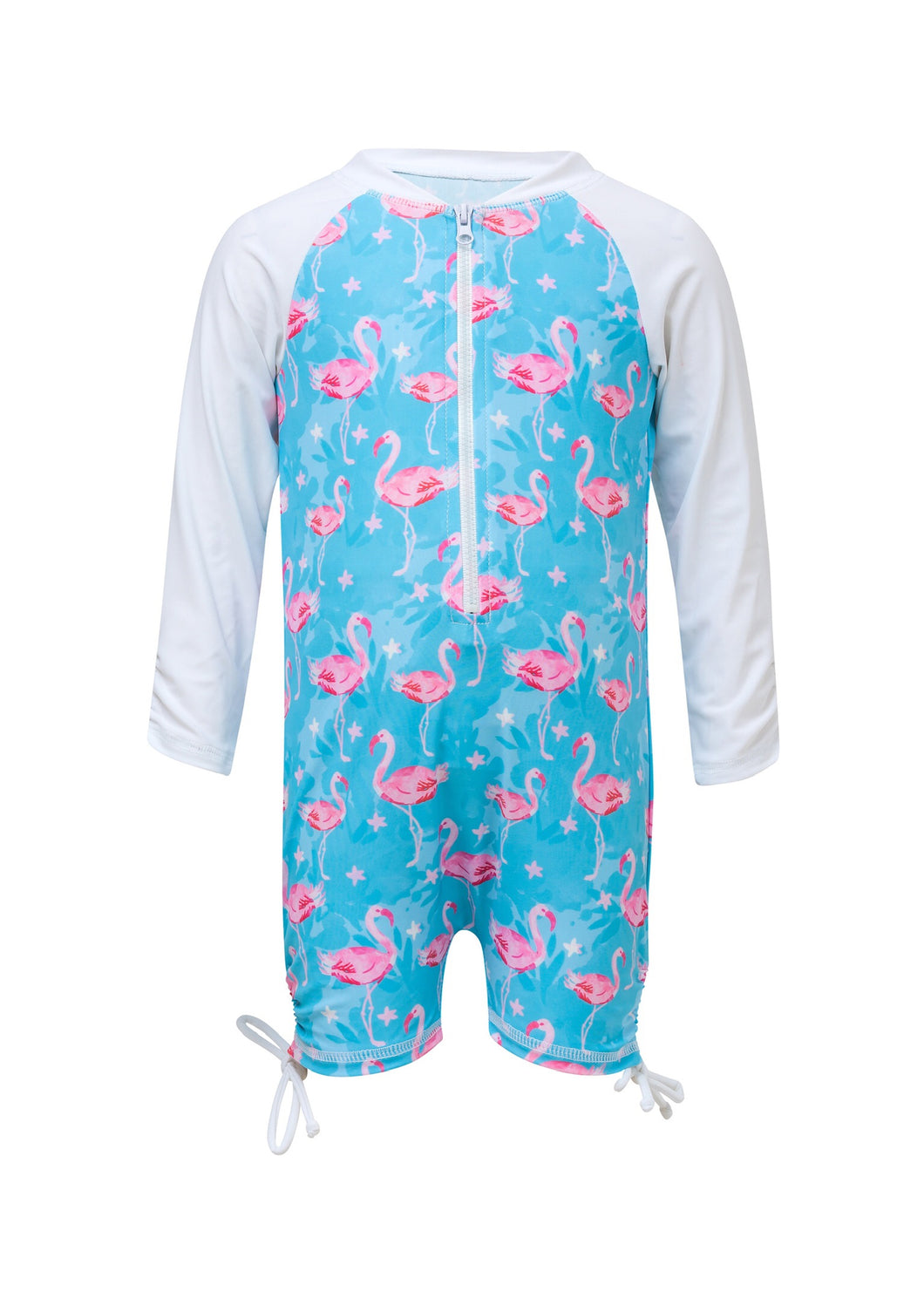 Snapper Rock Blue Flamingo Long-Sleeve Sunsuit