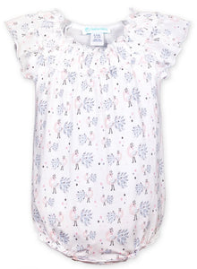 Feather Baby Peacock Print Ruched Bubble