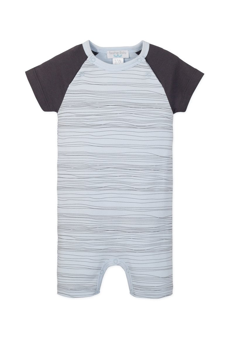 Feather Baby Sailor Sleeve Romper- Grey Stripes on Blue