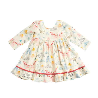 Pink Chicken Baby Coralee Dress- Multi Watercolor Moths
