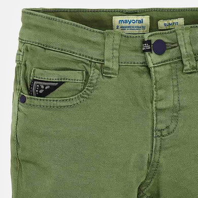 Mayoral Twill Trousers- Olive Green
