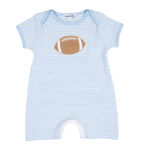 Magnolia Baby Football Fan Appliqué Playsuit