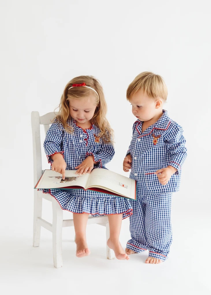 Sweet Dreams Royal Blue Gingham Reindeer PJ