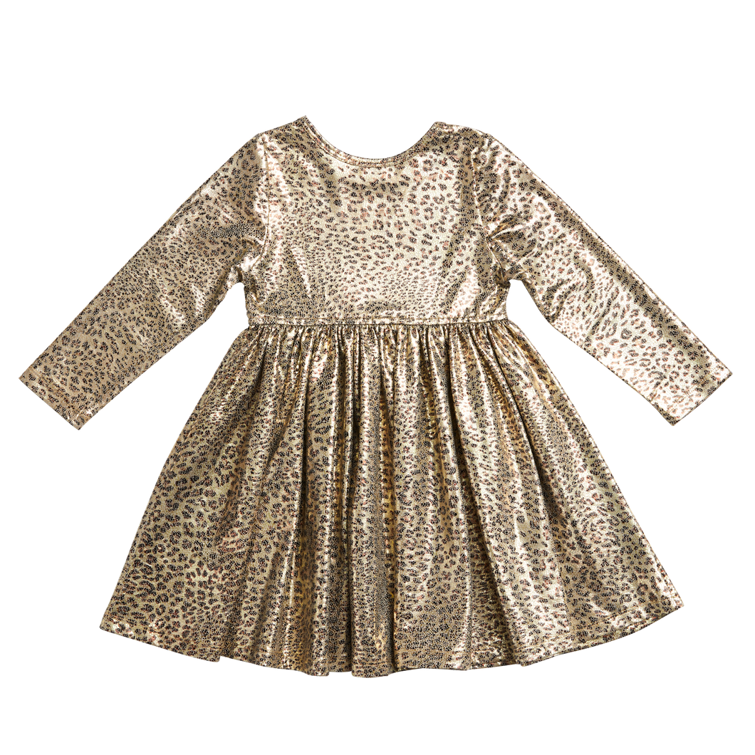 Pink Chicken Leopard Metallic Dress