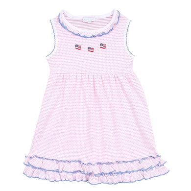 Magnolia Baby Stars and Stripes Ruffle Sleeveless Toddler Dress