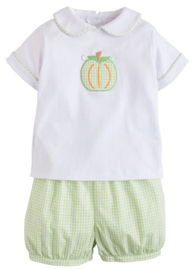 Little English Pumpkin Applique Peter Pan Short Set