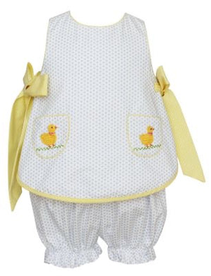 Claire & Charlie White/Blue dots bloomer set- yellow bows crochet duckies pocket