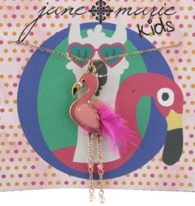 Jane Marie Flamingo with feather necklace