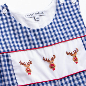 Sweet Dreams Royal Blue Ging Reindeer Longall
