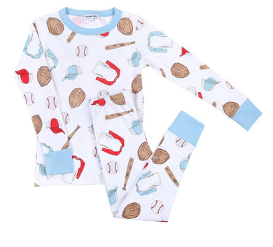 Baseball Season Long Pajama Set- Blue