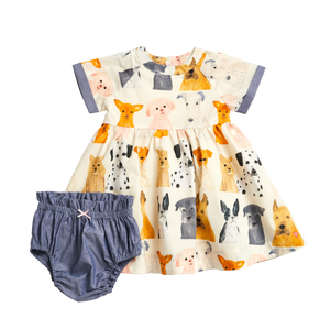 Pink Chicken Watercolor Dog Dress Set