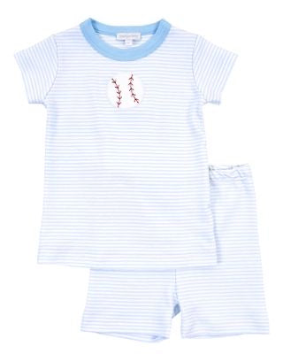 Magnolia Baby Baseball Applique Short PJ's